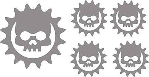 Silver Skull Cog Bicycle Reflective Reflector Sticker Decal