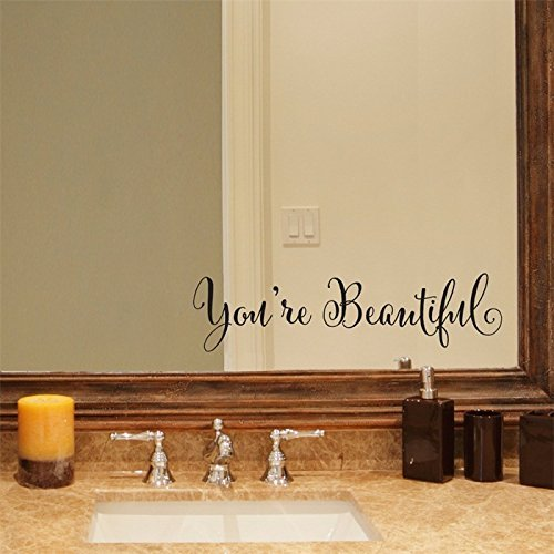 You're Beautiful Quote Mirror Decal Vinyl Decal