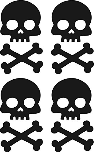 Black Skull and Cross Bone Bicycle Reflector Reflective Sticker