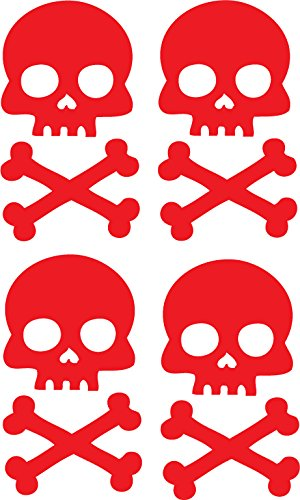 Red Skull and Cross Bone Bicycle Reflector Reflective Sticker De