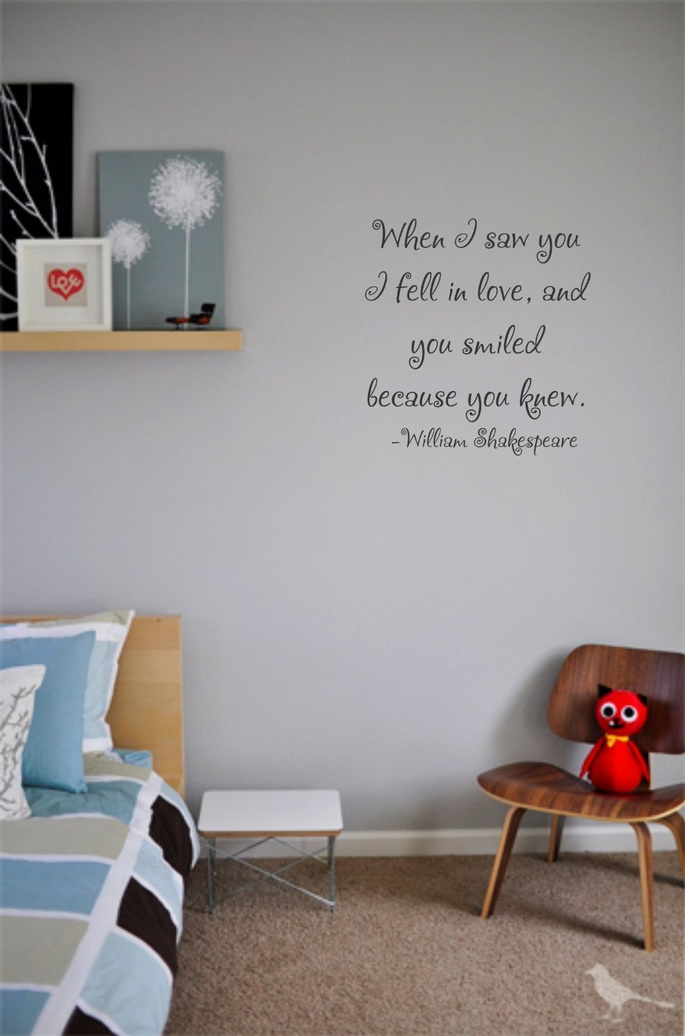 When I saw you I fell in love wall decal
