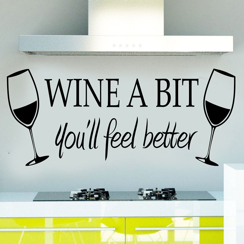 WINE A BIT you'll feel better Quote Letter Wall Sticker