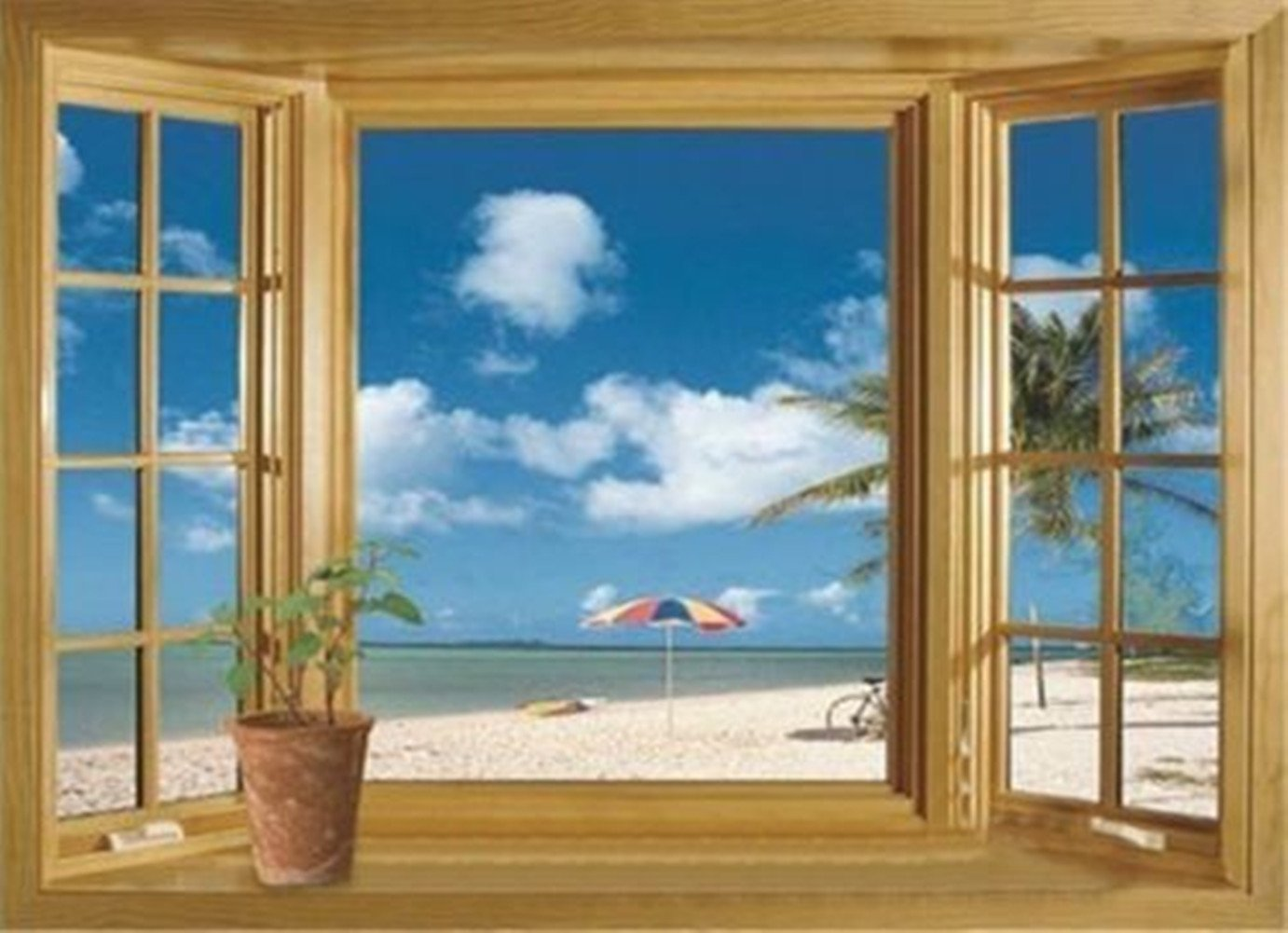 3D Beach Window View Removable Wall Stickers