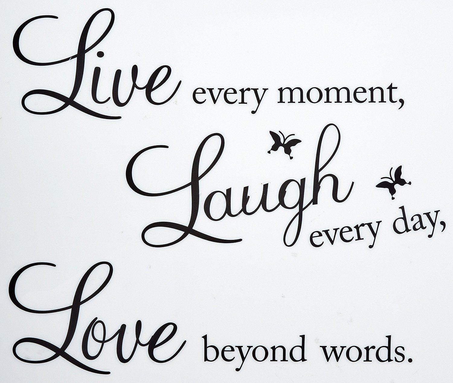 Live Every Moment, Laugh Every Day, Love Beyond Words Wall Quote